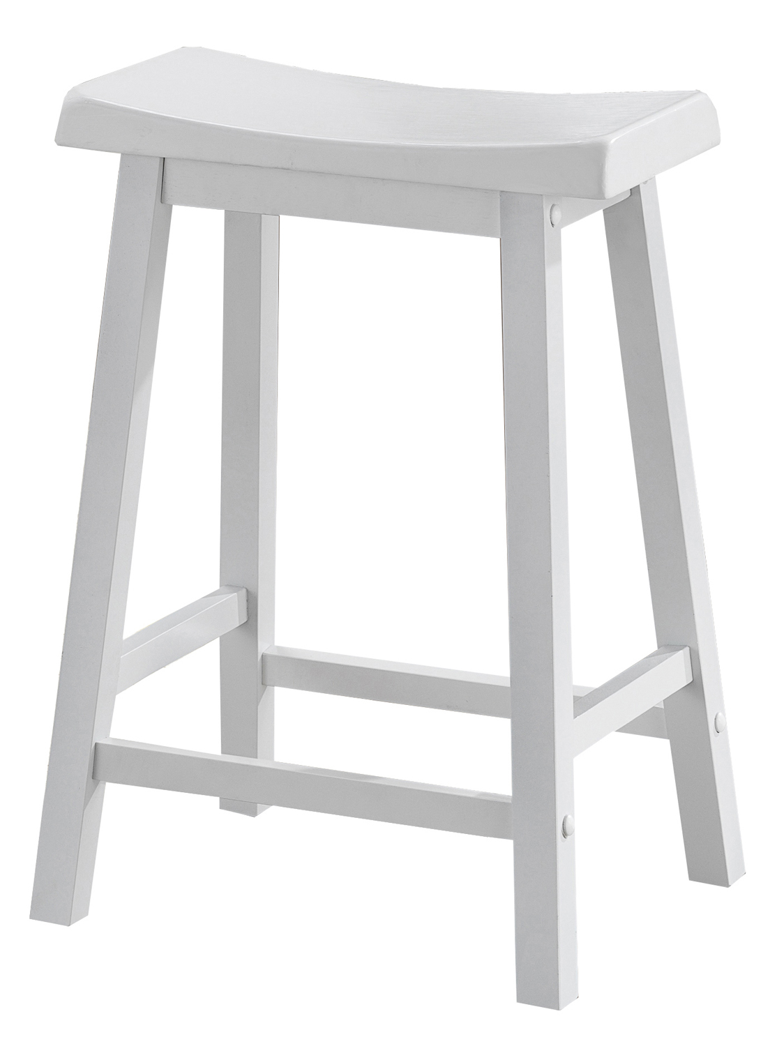 "Barstool - 2 Pieces / 24""H / White Saddle Seat"