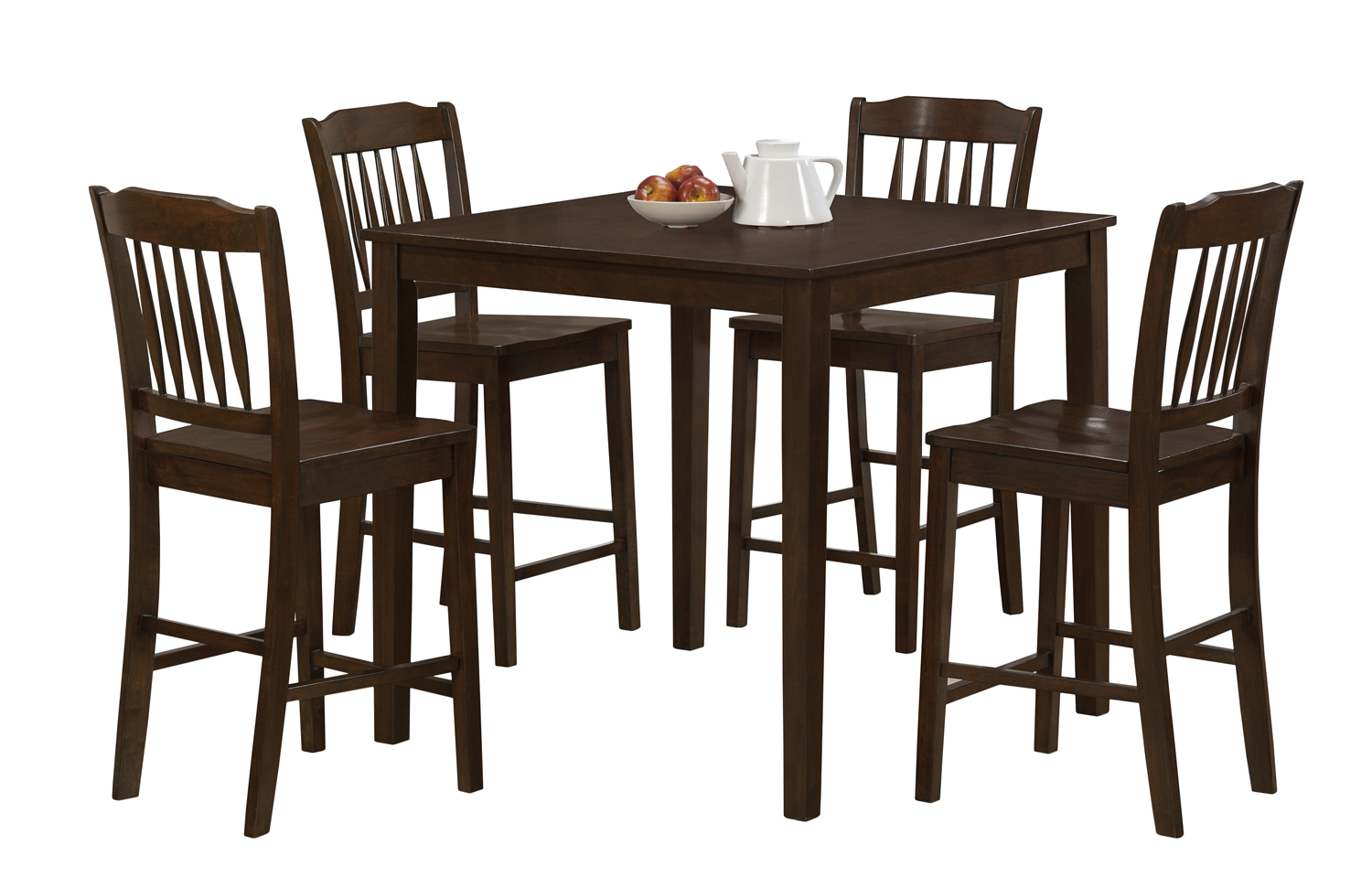 Dining Set - 5 Pieces Set / Cappuccino Veneer Counter Height