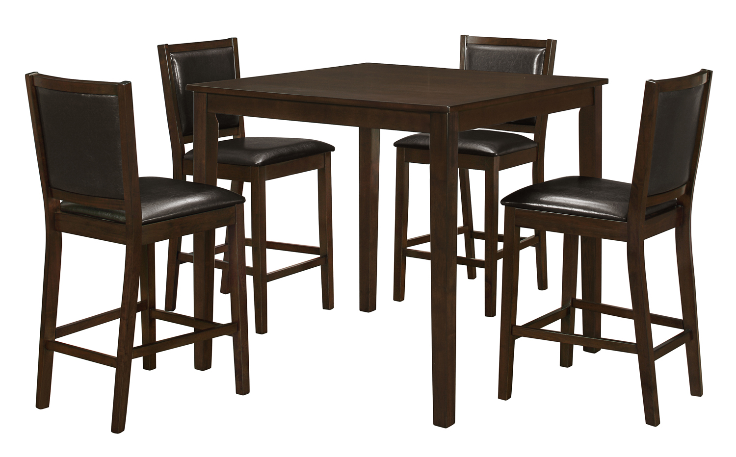 Dining Set - 5Pcs Set / Walnut Veneer Counter Height