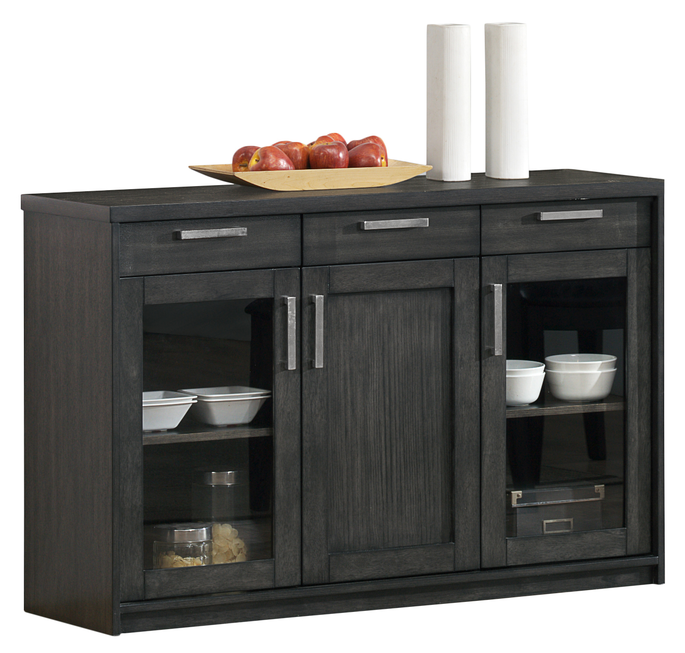 "48"" Server with Modern Pewter Hardware, Dark Grey Veneer"