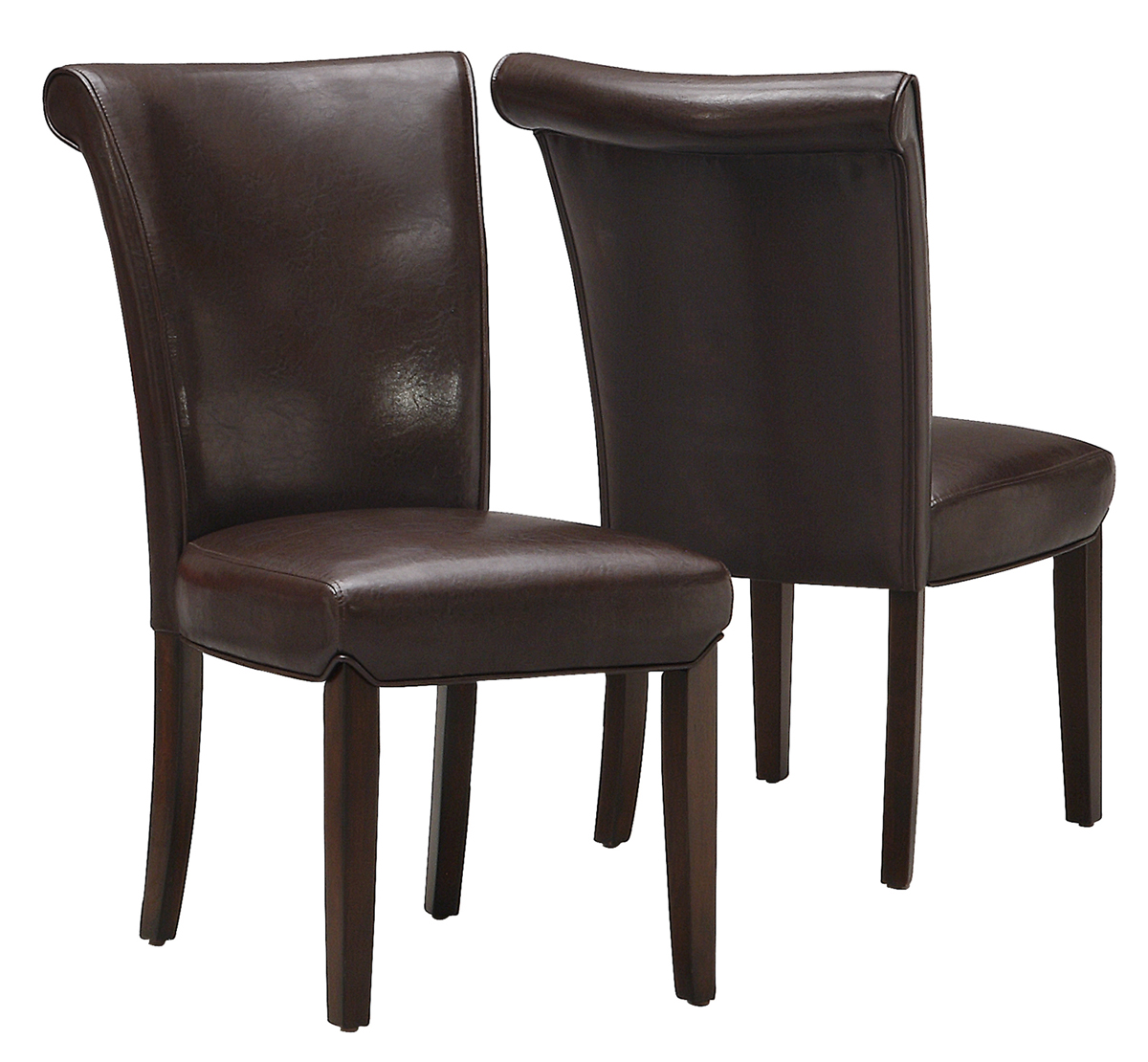 "Dining Chair - 2 Pieces / 39""H / Dark Brown Leather-Look"