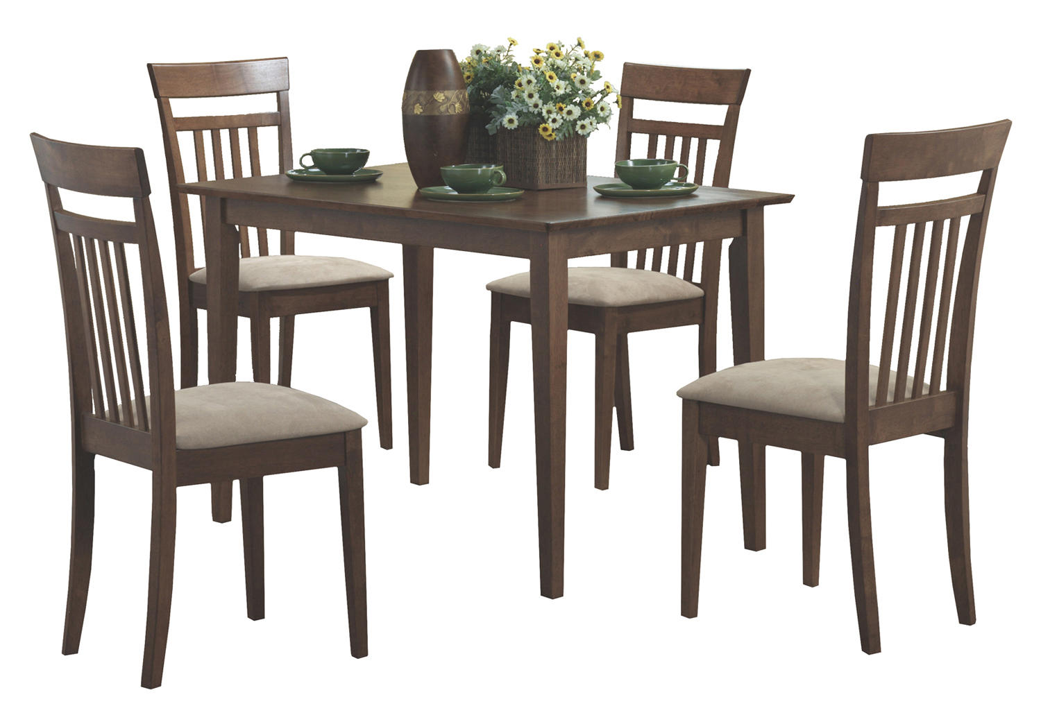 Dining Set - 5 Pieces Set / Walnut Finish