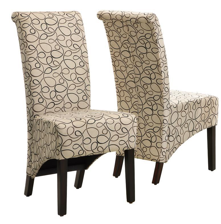 "Dining Chair - 2 Pieces / 40""H / Tan Swirl Fabric"