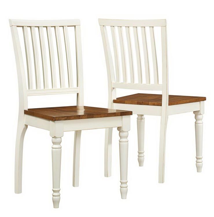 "Dining Chair - 2 Pieces / 36""H / Antique White / Oak"