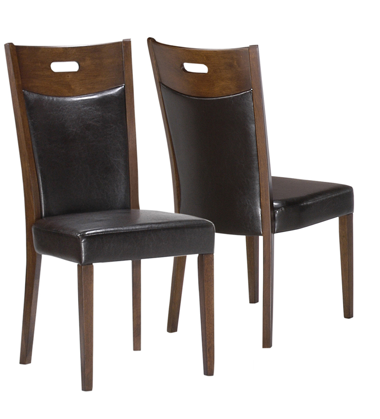 """Dining Chair - 2Pcs / 36""""H / Walnut / Brown Leather-Look"""