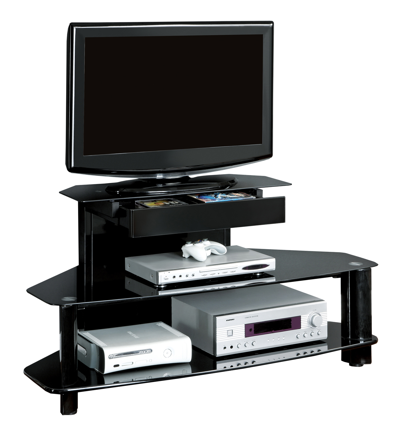 "48""L TV Stand, Glossy Black and Wood Metal, Tempered"