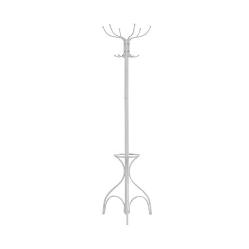 "70"" Metal Coat Rack with Umbrella Holder, White"