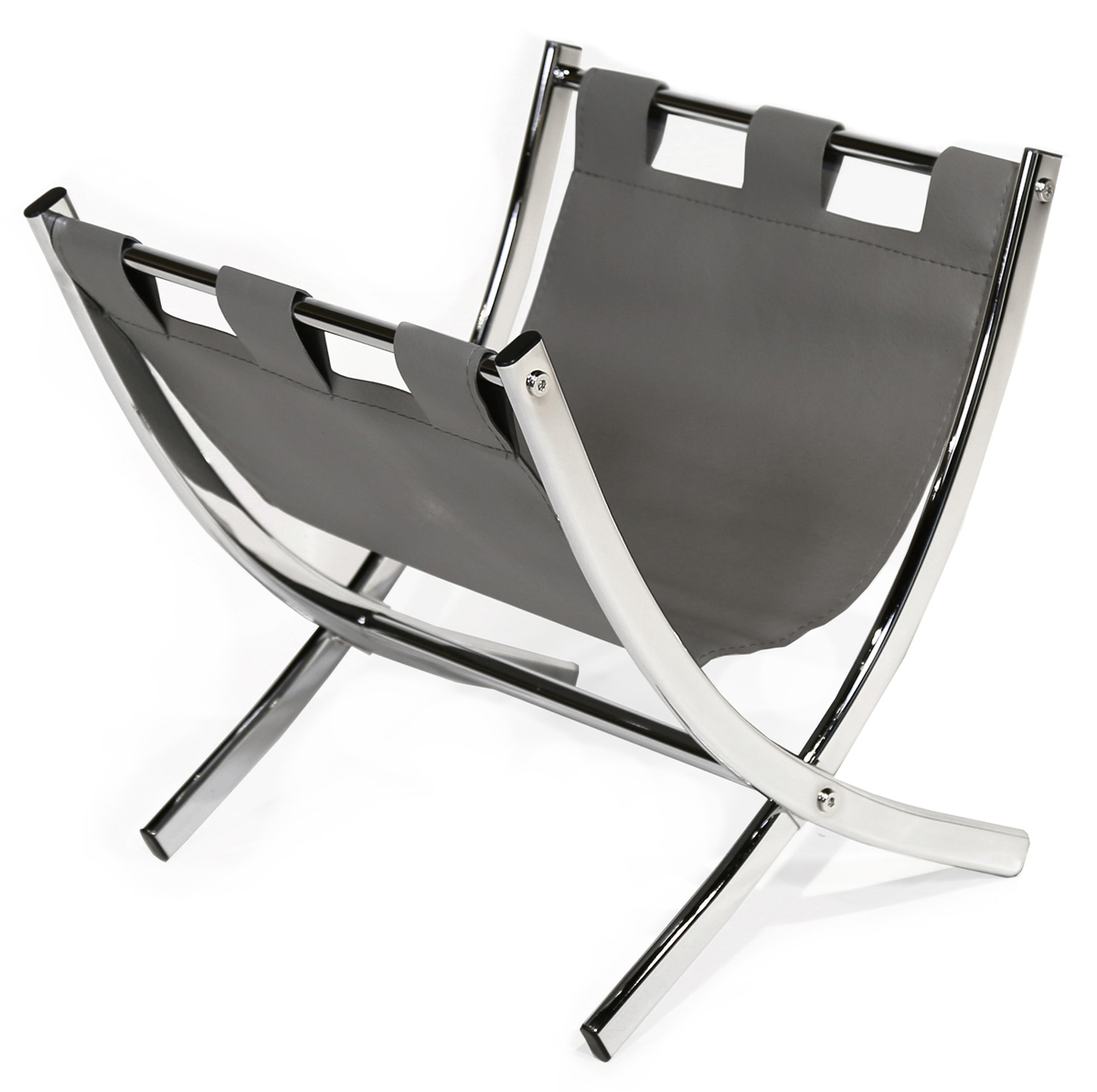 "15"" Magazine Rack, Grey Leather-Look and Chrome Metal"