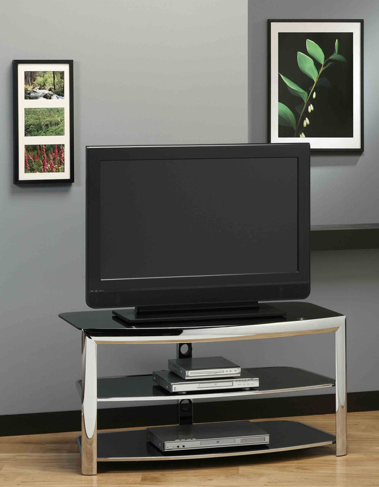 "43""L TV Stand, Chrome Metal With Black Tempered Glass"