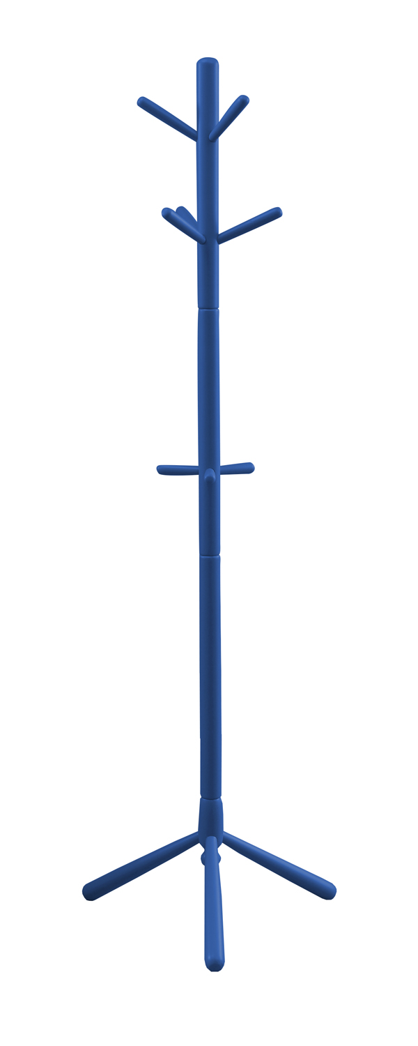 "69"" Contemporary Solid Wood Coat Rack, Blue"