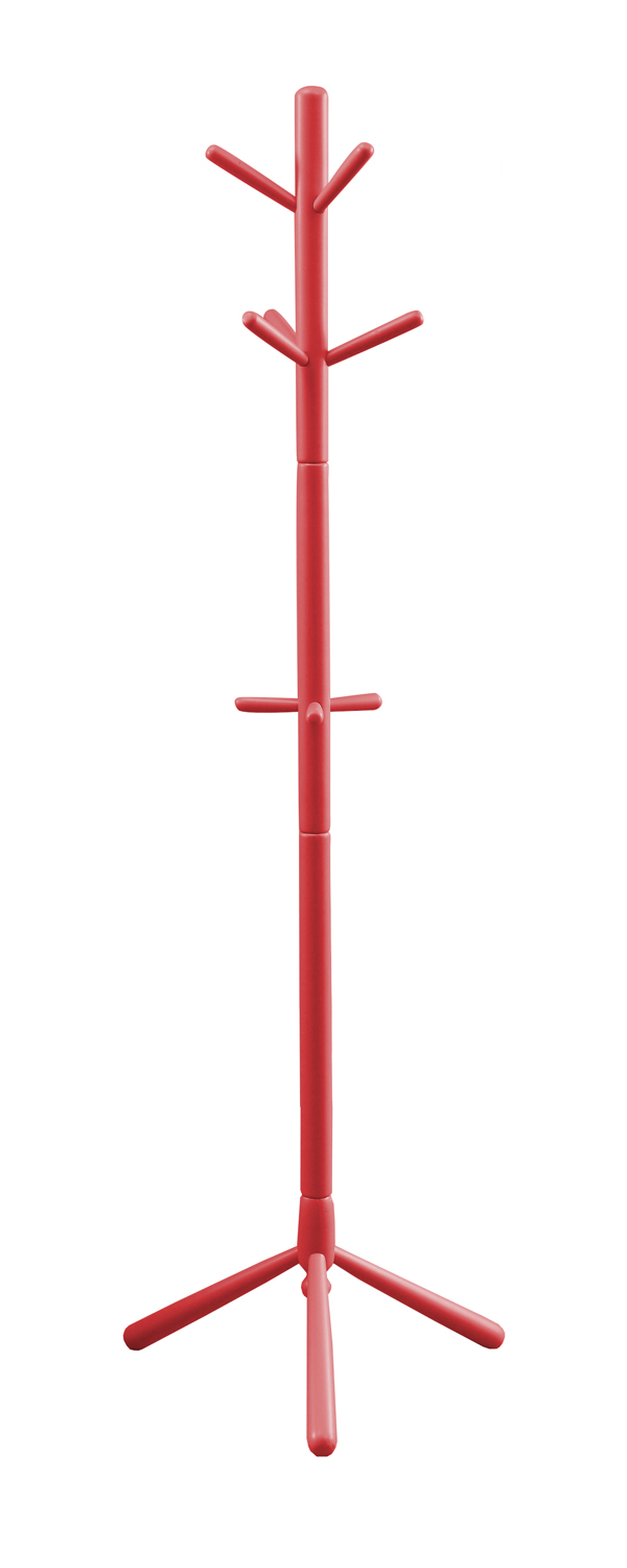 "69"" Contemporary Solid Wood Coat Rack, Red"