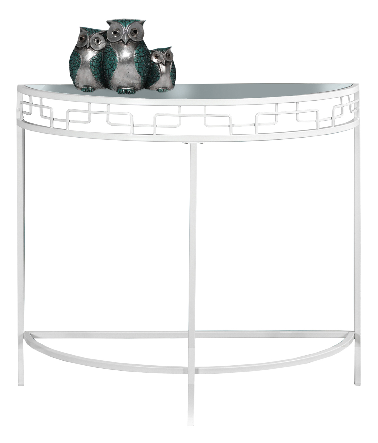 "36""L Accent Table with Hall Console, White Metal"