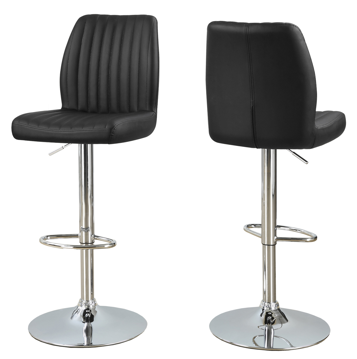 2-Pieces Hydraulic Lift Metal Barstool, Chrome Base and Black Upholstery