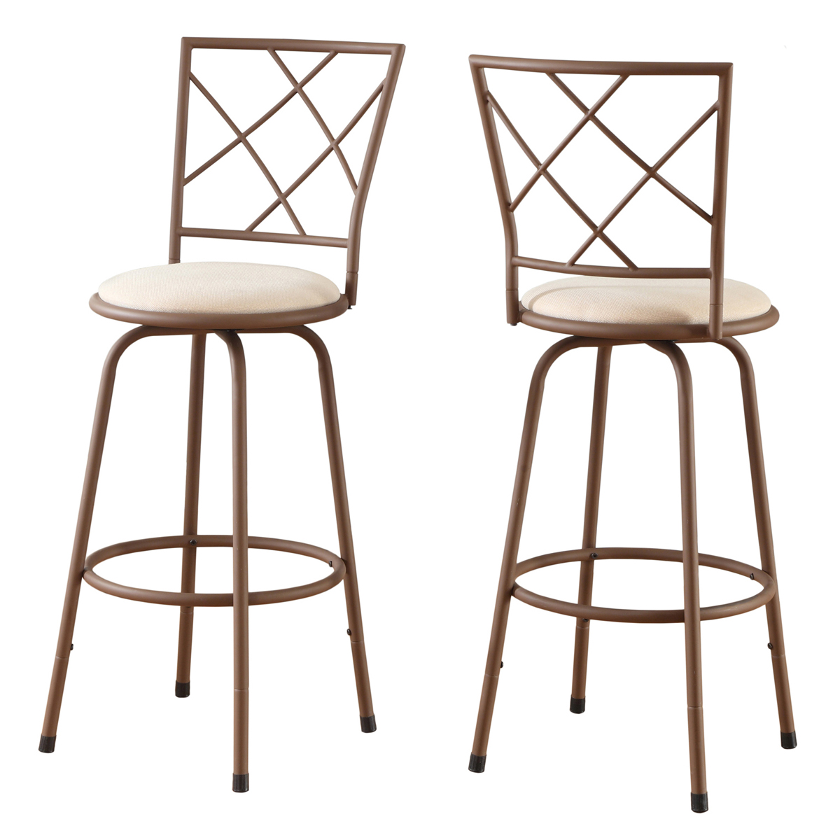 2 Piece Swivel Barstool Set with Brown Metal Frame and Beige Fabric Seat