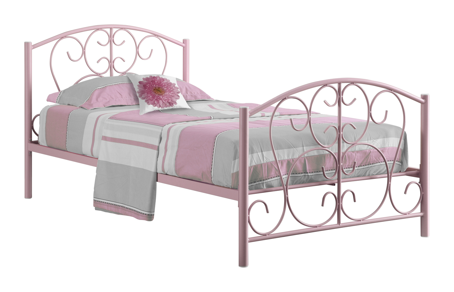 Twin Size Metal Bed Frame, Pink