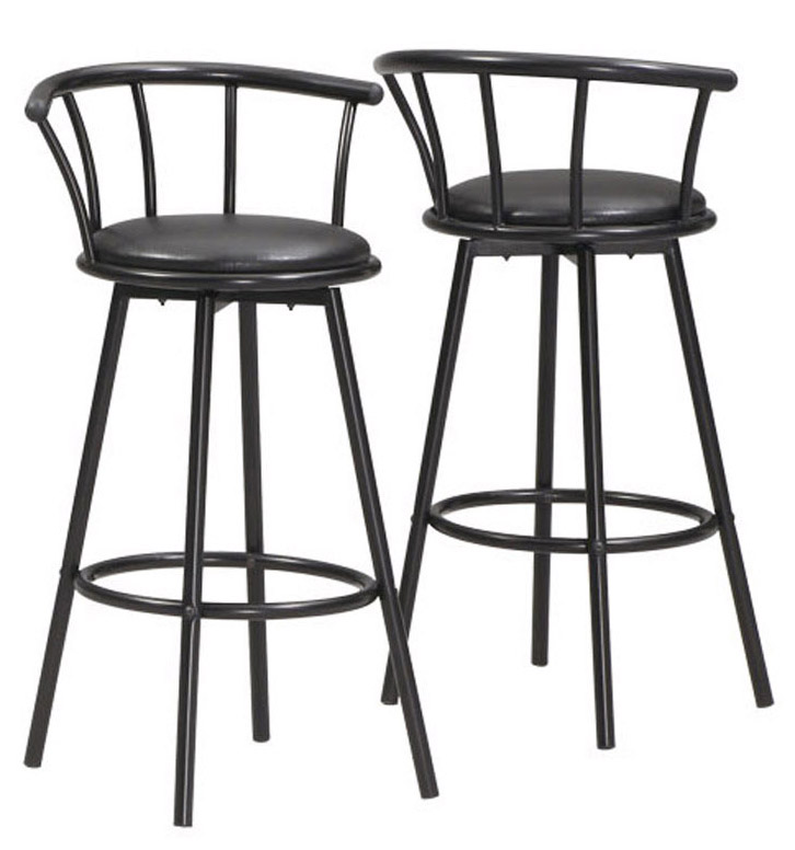 "43"" 2 Pieces Swivel Barstool, Black Metal"