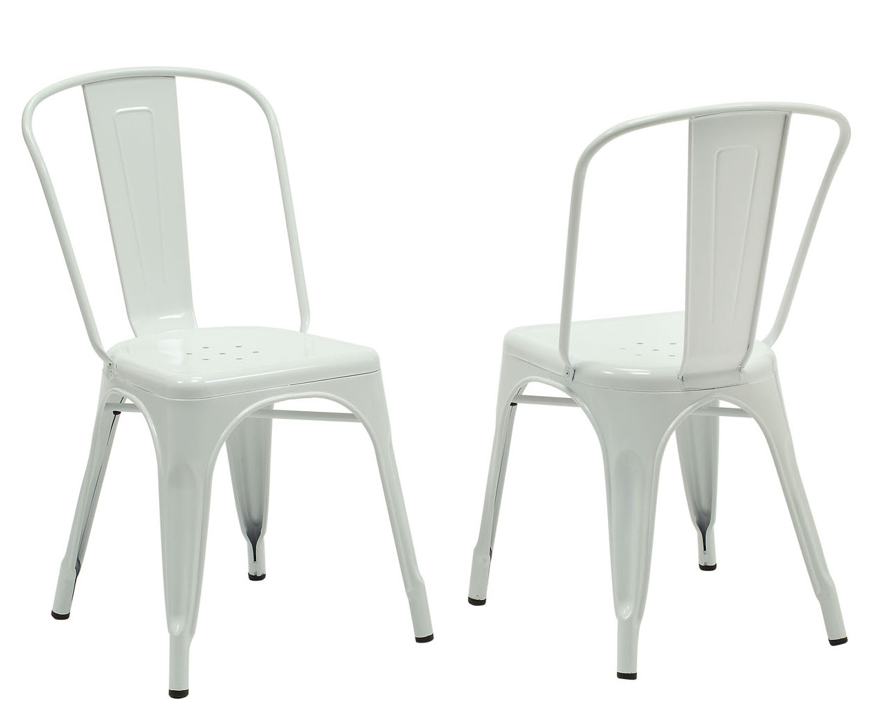 "Dining Chair - 2 Pieces / 33""H / White Glossy Metal"