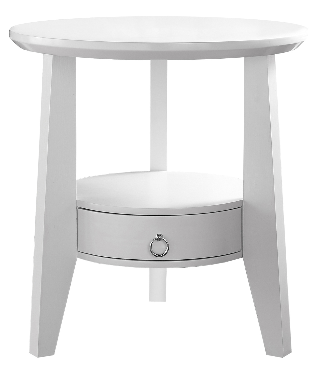 "23"" Accent Table With 1 Drawer, White"