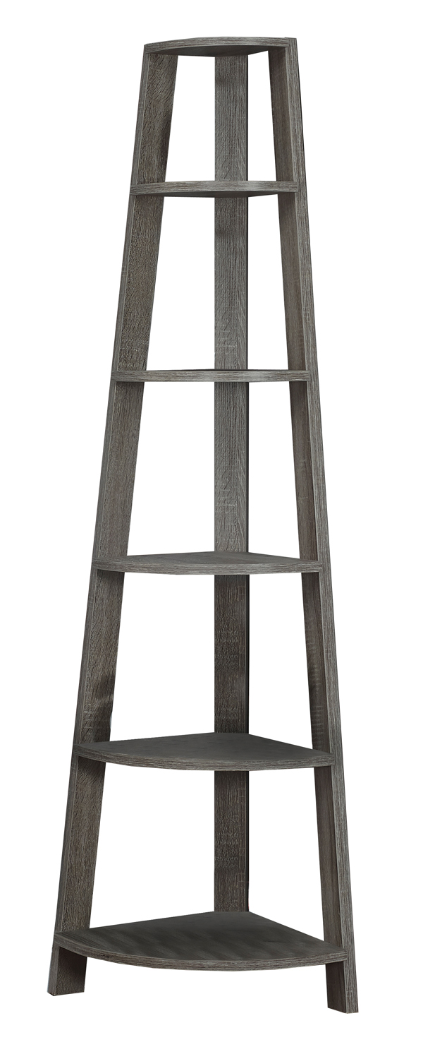 "Bookcase - 72""H / Dark Taupe Accent Etagere"