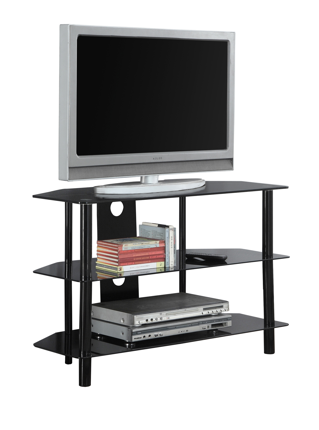 "36""L TV Stand, Black Metal With Tempered Black Glass"