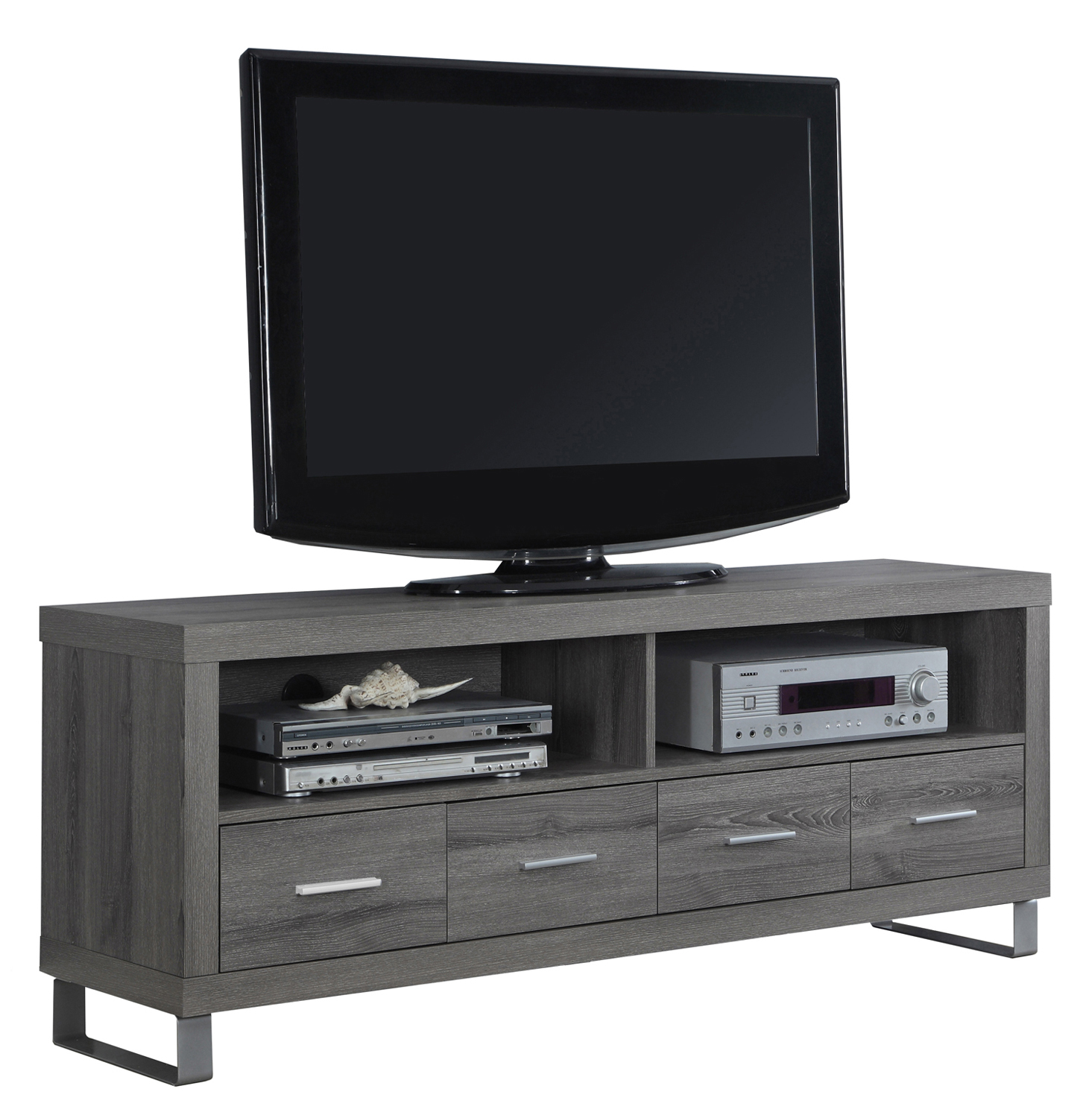 "60""L TV Stand with 4 Drawers, Dark Taupe"