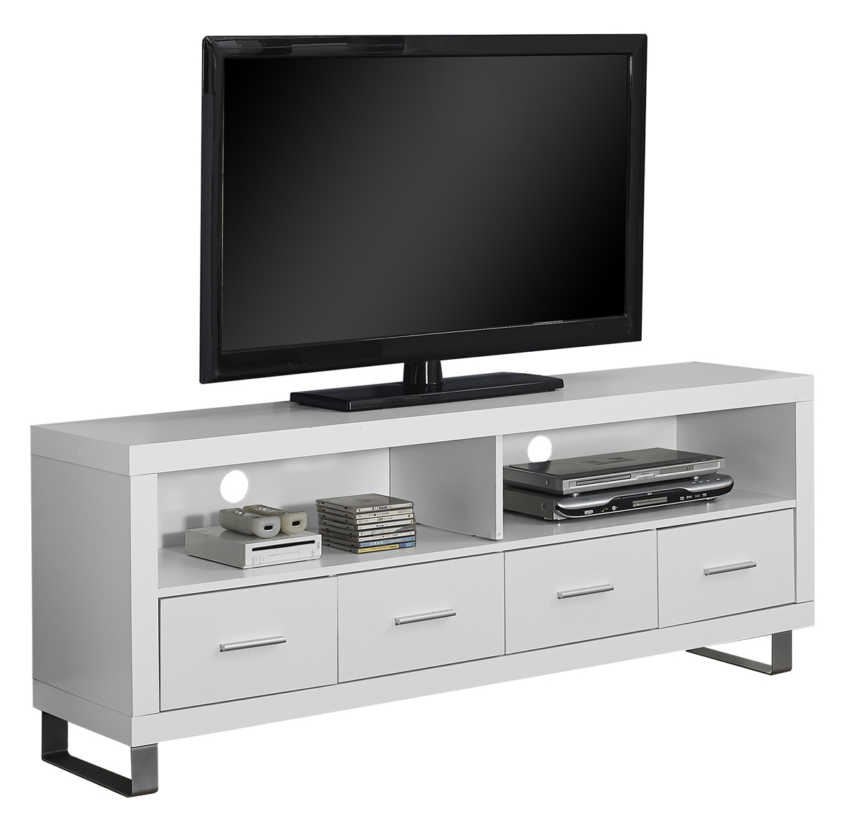 "60""L TV Stand, White With 4 Drawers"