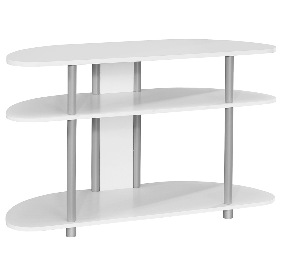 "38""L TV Stand, White With Silver Accent"