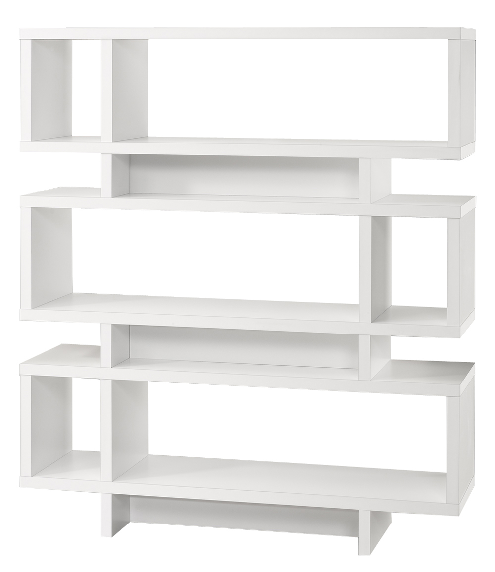 "Bookcase - 55""H / White Modern Style"