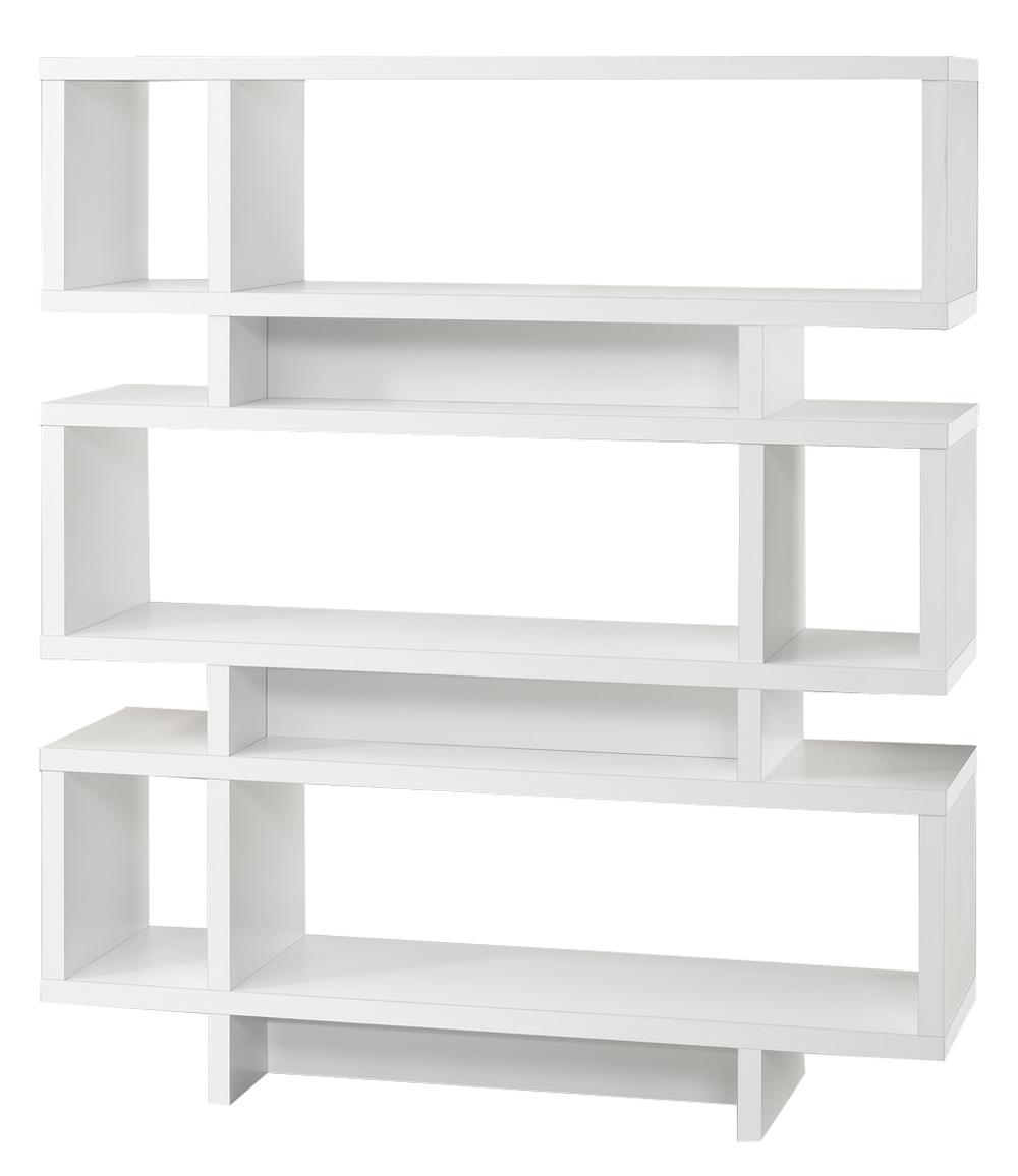 "Bookcase - 55""H / White Modern Style"