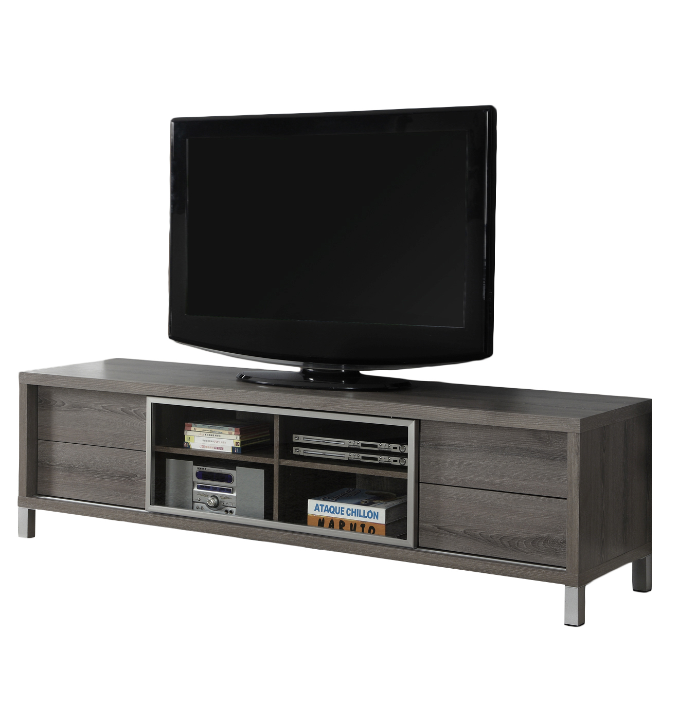 "70""L TV Stand, Dark Taupe Euro Style"