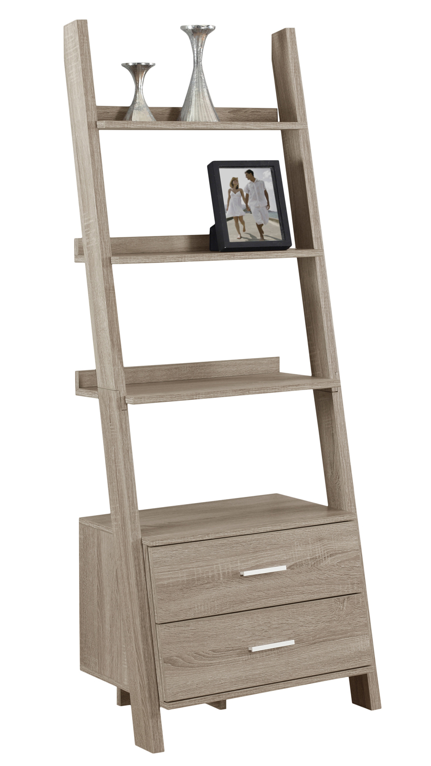 "69""H Ladder Bookcase With 2 Storage Drawers, Dark Taupe"