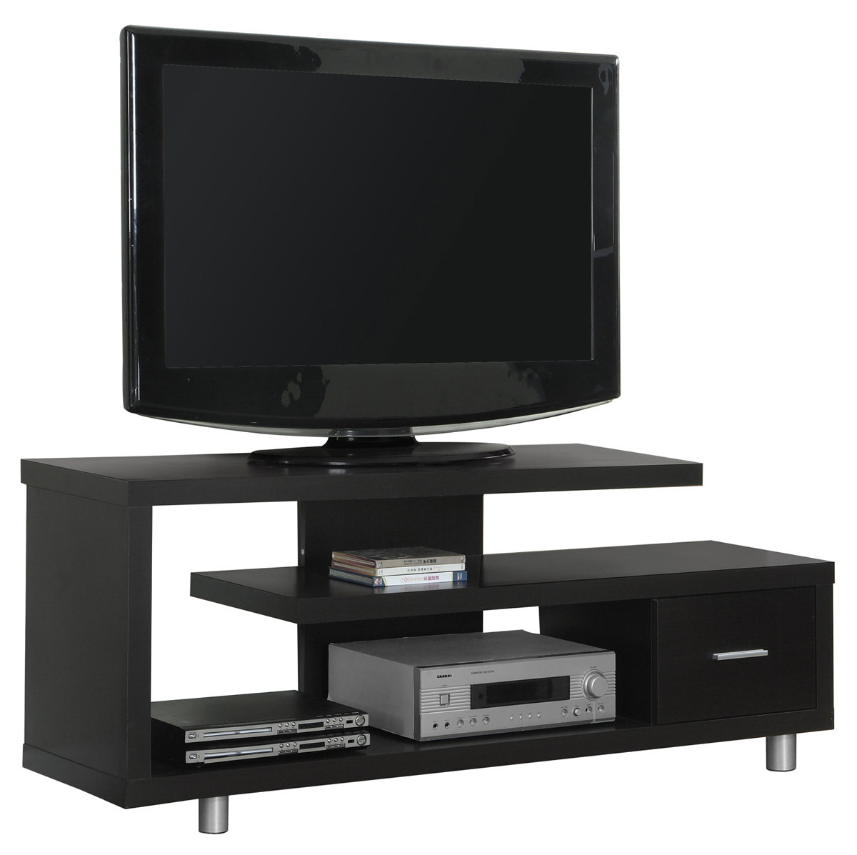 "60""L Contemporary Two Tone TV Console, Black Frame With Grey Cabinets"