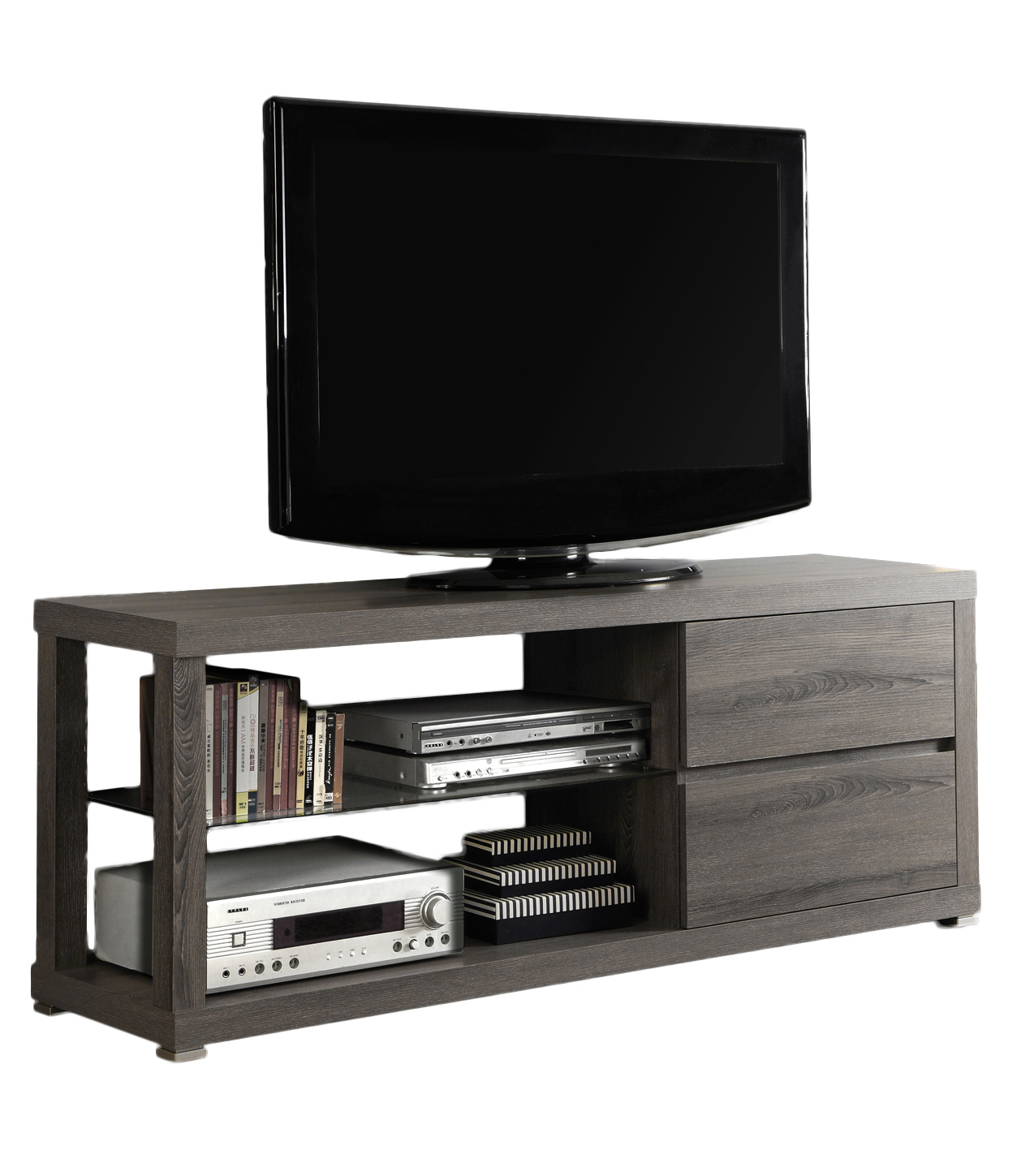 "60""L TV Stand, Dark Taupe With Tempered Glass"