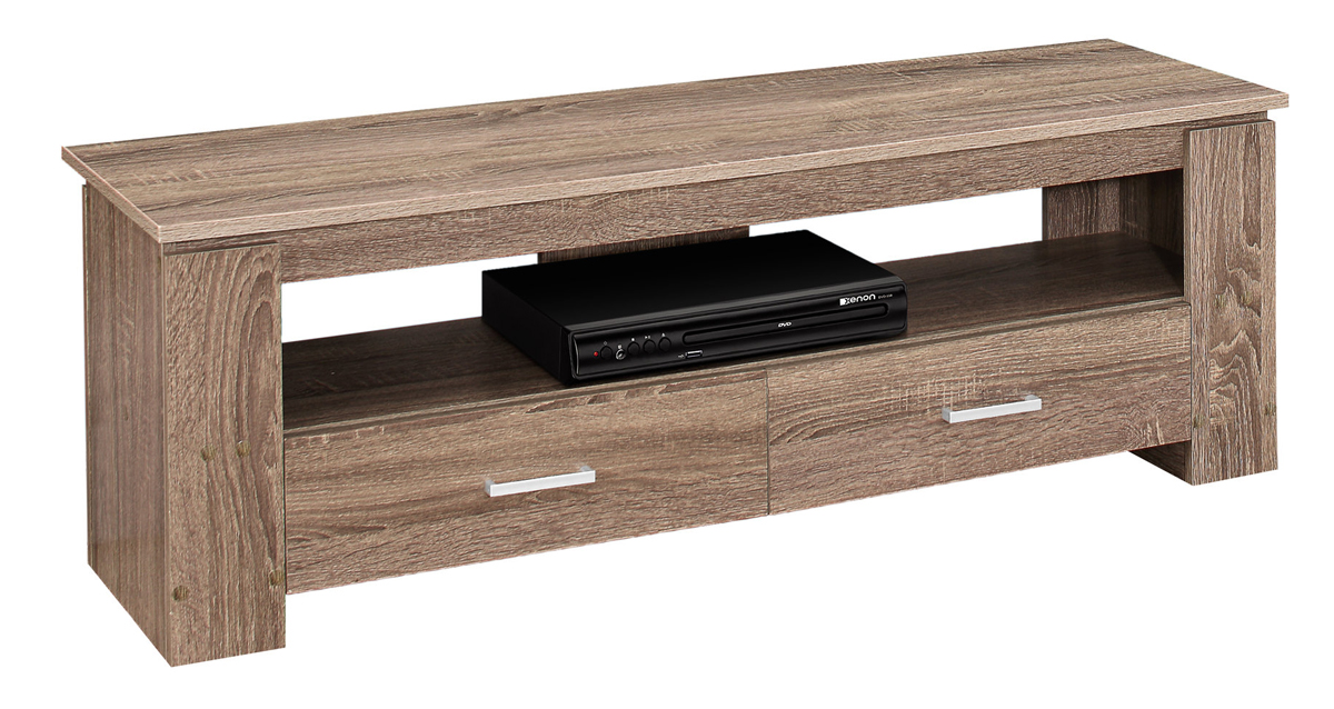 "TV STAND - 48""L / DARK TAUPE WITH 2 STORAGE DRAWERS"