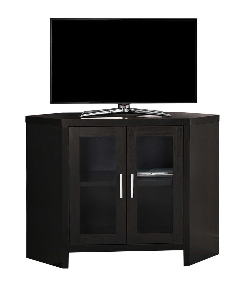 "Tv Stand - 42""L / Cappuccino Corner With Glass Doors"