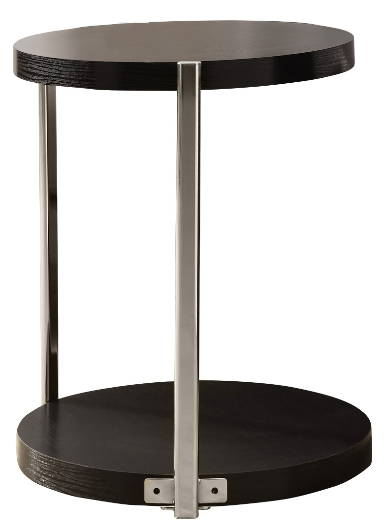 """18"""" Accent Table with Fashionable Chrome Metal Base And Cappuccino Finished Top"""