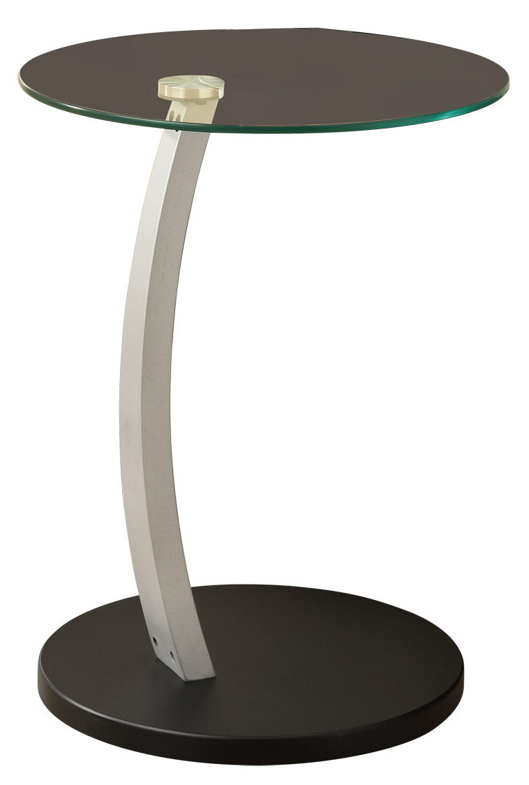 "18"" Black And Silver Bentwood Accent Table with Curved Aluminum Metal Base and Tempered Glass"