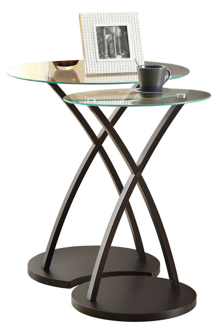 2 Pieces Set Nesting Table with Bentwood Legs, Cappuccino Base and Tempered Glass Top
