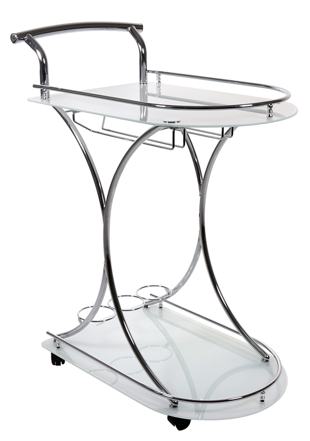 Server - Chrome Metal / White Tempered Glass On Castors