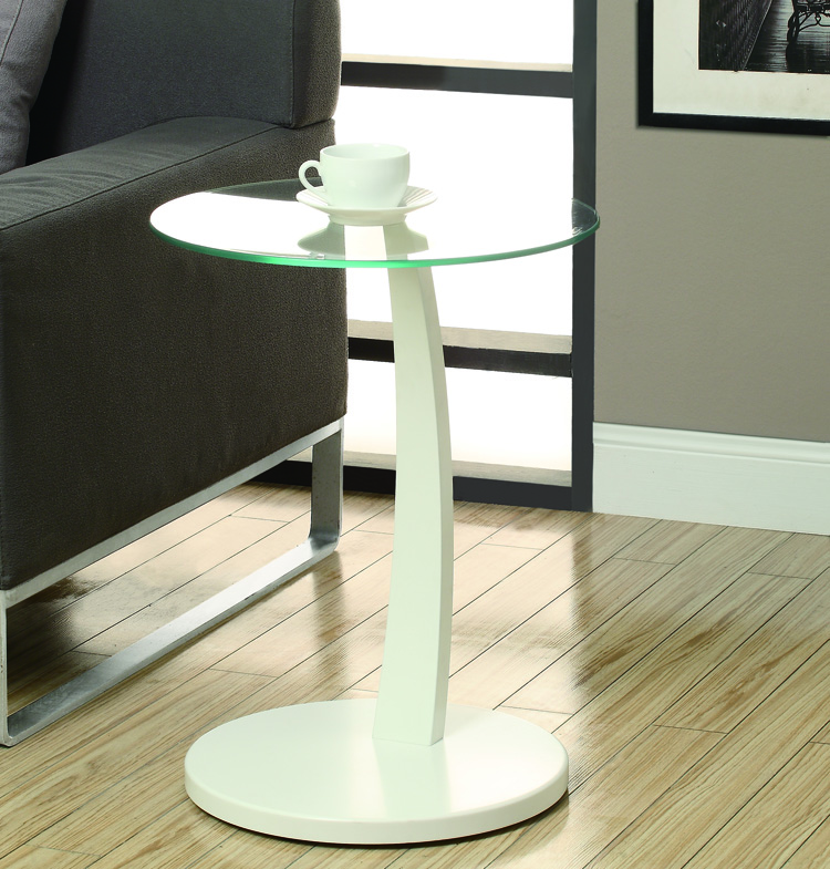 Accent Table - White Bentwood With Tempered Glass