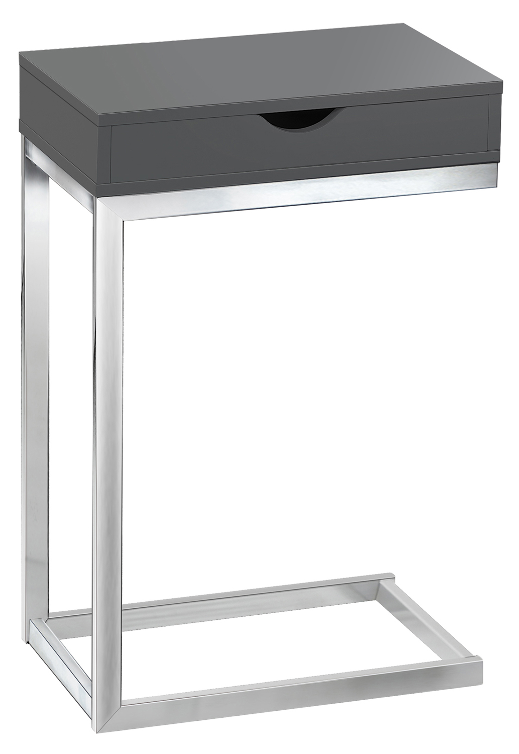 Accent Table - Glossy Grey Hollow-Core / Chrome Metal
