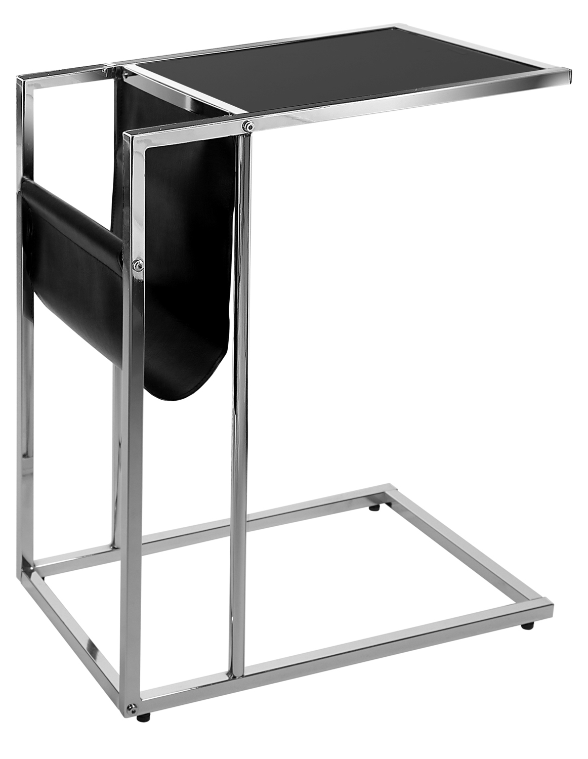 "19"" Accent Table With Magazine Rack, Chrome Metal and Black"