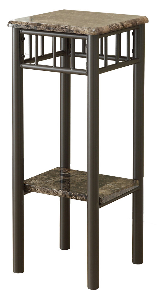 """12"""" Accent Table with Cappuccino Bronze Metal Base And Marble-Look Top"""
