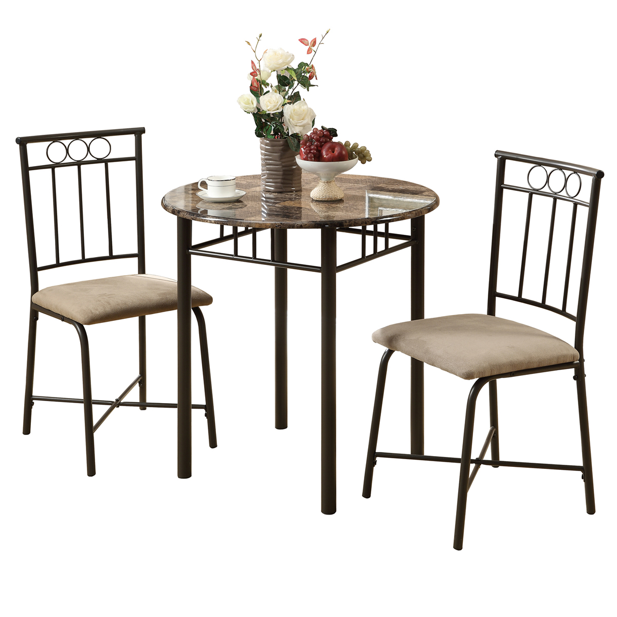 Dining Set - 3 Pieces Set / Cappuccino Marble / Bronze Metal
