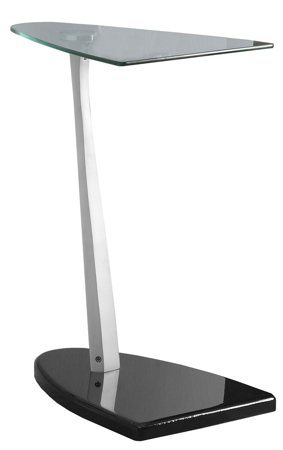 "18""L Accent Table, Glossy Black Base with Silver Support Arm and Tempered Glass Flipper Shaped Top"