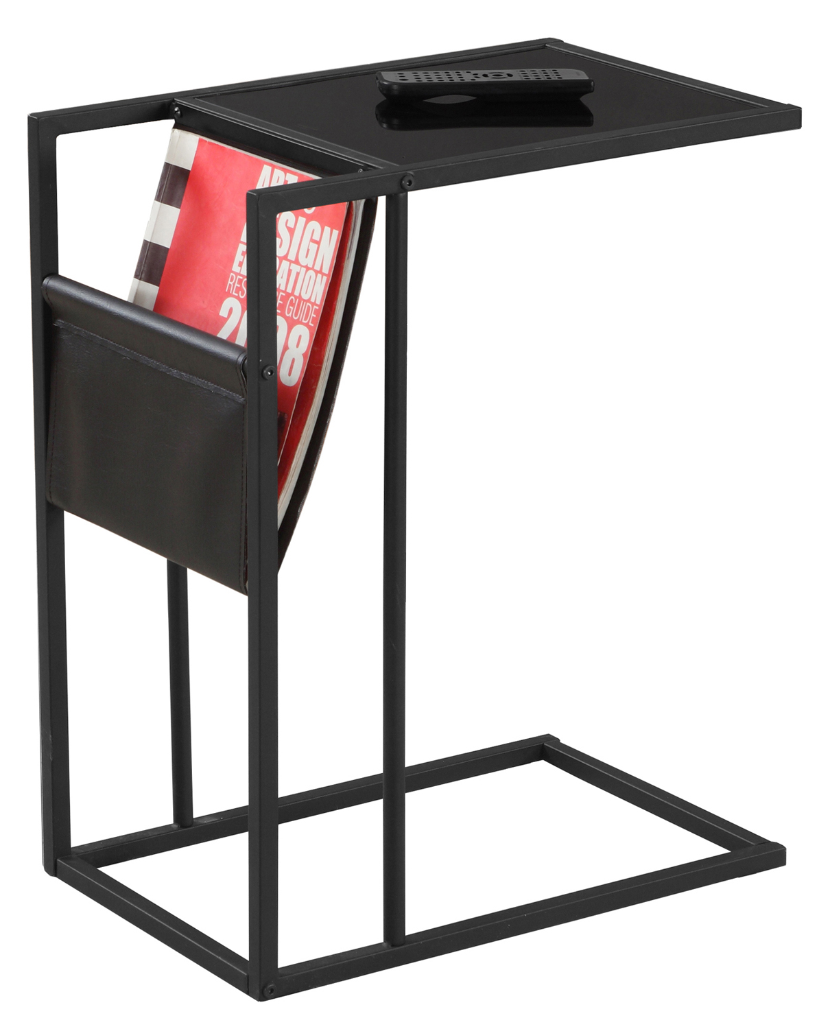 "24"" Accent Table With a Magazine Rack, Black"