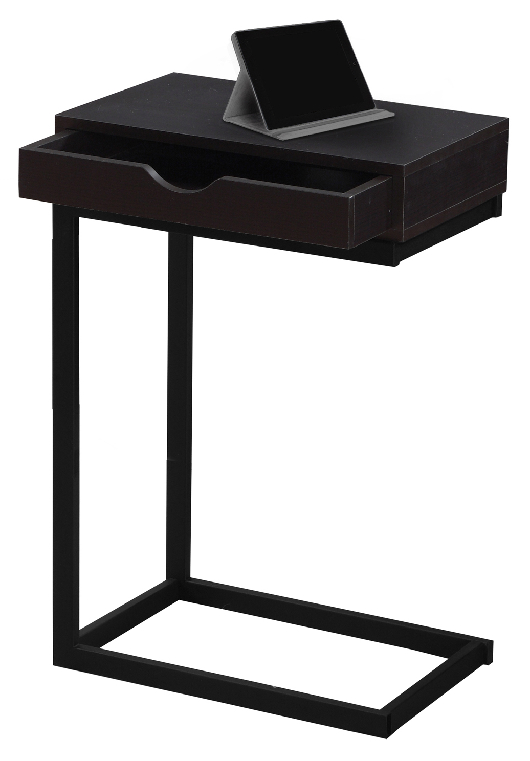"24"" Accent Table With A Drawer, Black Metal Base and Cappuccino Top"