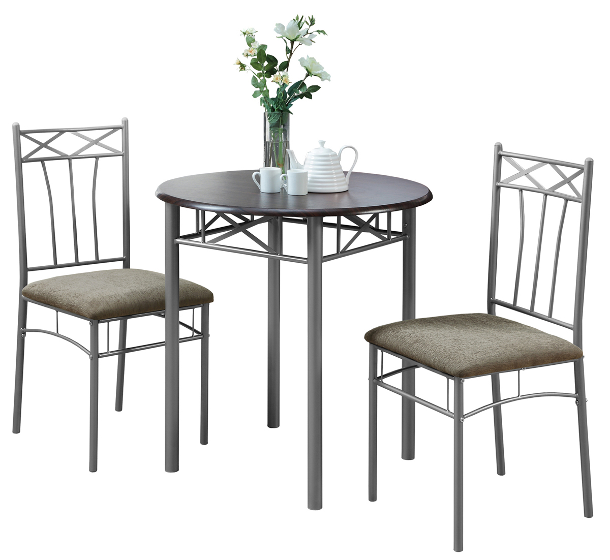 Dining Set - 3 Pieces Set / Cappuccino / Silver Metal