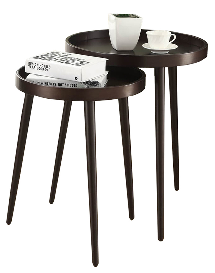 2 Pieces Set Tray Top Nesting Table, Cappuccino