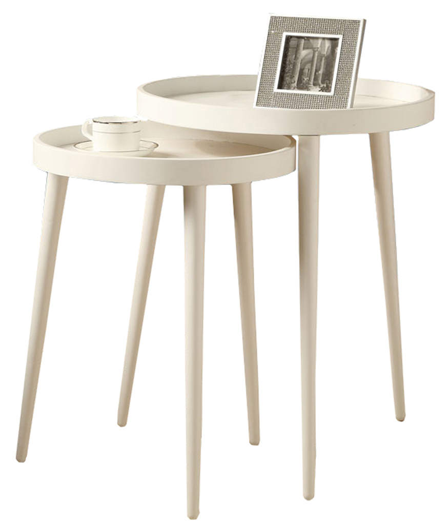 2 Pieces Set Tray Top Nesting Table, White